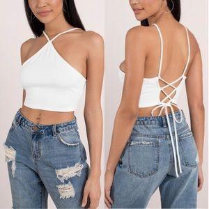 Tobi White Lace Up Crop Top